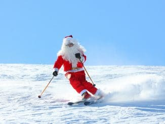 Skiing Santa at Christmas