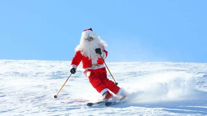 Skiing Santa at Christmas