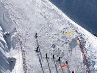 six skiers