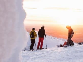 six young skiers & snowboarders