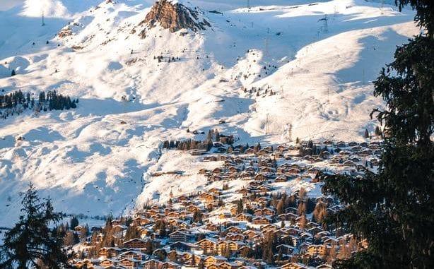 village in snowy mountains
