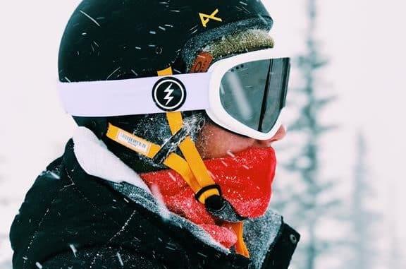 man with ski helmet & goggles