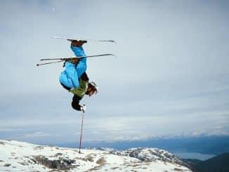 upside down skier