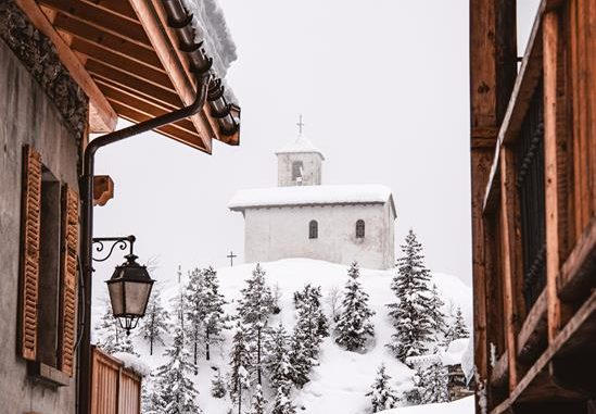chalets in snow