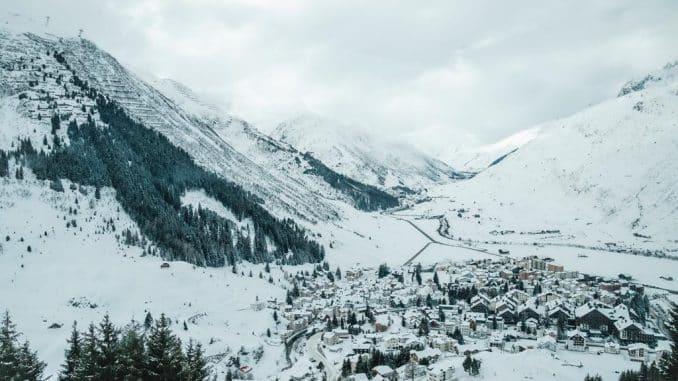 snowy mountains & village