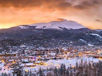 orange ski and houses